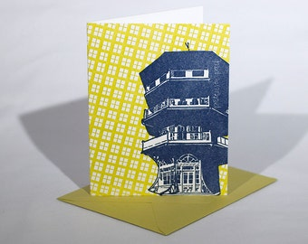 Baltimore Letterpress Card | Patterson Park Pagoda | navy & chartreuse single blank card with envelope