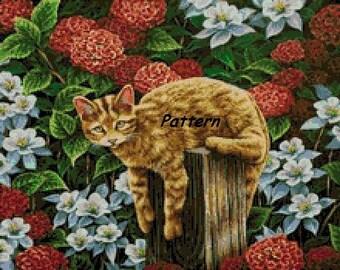 Cat. Cross Stitch Pattern. PDF Files.