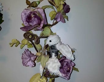 White finch rose garden, textile art, soft sculpture, ooak