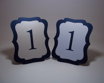 Navy Blue Table Numbers  Navy Blue and Ivory or White Shimmer  Table numbers Free-standing Cut Out Wedding Party Dinner