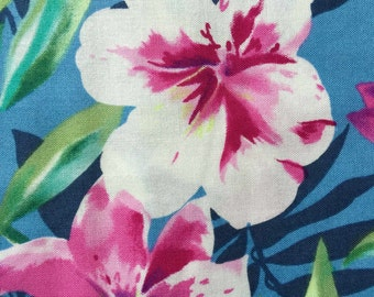 FF70 Fit to Print (6 HALF yards available) Floral Tropical Hawaiian Fabric