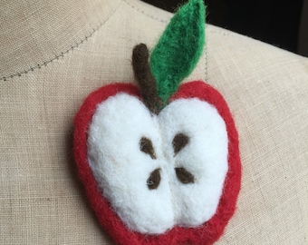 Apple brooch corsage needle felted teachers gift