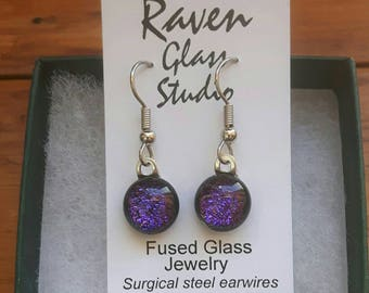 Purple dichroic glass earrings,  Fused glass jewelry,  Art glass earrings, Dangle earrings, Kiln fired glass earrings, Fused glass, EA142