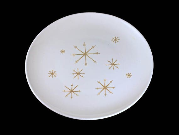 Chop Plate, Royal China (USA), Crystal Pattern, Gold Star Design, White and Gold, Round Platter