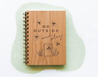 Go Outside & Play Laser Cut Wood Journal
