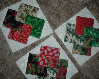 Set of  12 Scrappy Christmas Card Trick Quilt  Blocks  Already Sewn 9 Inches
