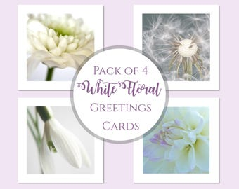Greetings Cards Pack, White Flower Birthday Cards, Note Cards, Floral Photo Cards, Pack Of Notelets, Flower Photo Cards