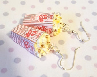 Miniature Buttered Popcorn Earrings with Silver Plated or Sterling Silver your choice