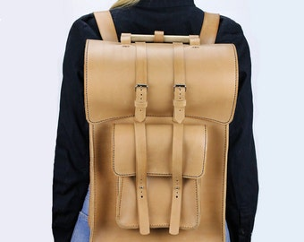 Leather backpack women Beige leather rucksack Laptop backpack Hand stitched leather backpack Unisex school bag Leather back pack purse