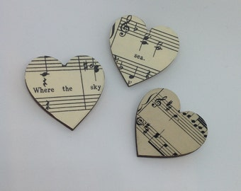 Vintage Music Score Brooches.