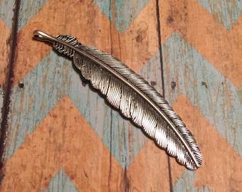 Antique Silver Large Feather Pendant