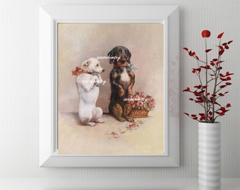 Nursery Art, Baby's Room Art,  Child's Room Art, Kitchen Art, Family Room Art, Dogs ArtPrint, Home Decor  #561