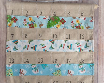 Advent calendar - Wall hanging - Christmas countdown - Crafty Christmas - Handmade Christmas - traditional Christmas – hessian Christmas
