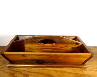 Vintage Western Cedar Wood Utensil Tote with Handle Garden Tote Primitive Table Centerpiece Reclained Wood Caddy Wooden Storage Organizer