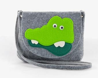 Girl's Purse, Child's Bag, Kids purse, felt bag, felt purse handbag cross body Green with a crocodile