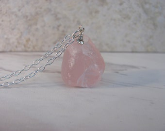 Raw Rose Quartz Necklace, Pink Stone Necklace, Long Necklace, Natural Crystal Jewelry, Raw Stone Jewelry, 925 Sterling Silver, Boho Jewelry