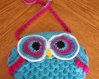 Kids crochet owl handbag