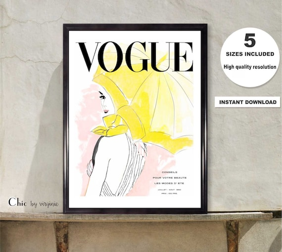 Vogue Poster Fashion Wall Art Gift For Her Printable Vogue