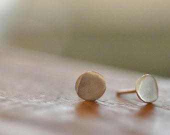 Sterling silver studs 6mm organic disc Small post earrings. Round Circle Brushed matte satin finish Everyday modern minimalist organic studs