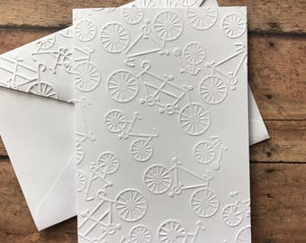Bicycle Cards, White Embossed Note Cards, Vintage Bicyle, Stationary Set, Greeting Cards, Bike Cards, Unicycle Cards, Tandem Bike Cards