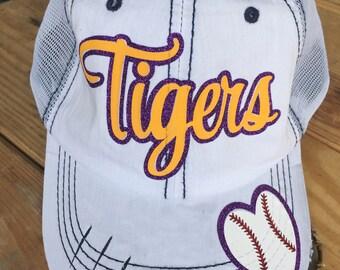Baseball Bling Cap, Distressed Trucker Cap, Bling Baseball Cap, Baseball Mom Hat, Ballpark Cap, Customized Baseball Cap, Personalized Cap