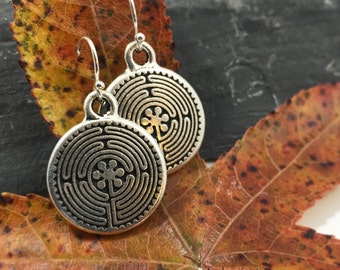 Silver Labyrinth Everyday Earrings Jewelry Small Tiny Spiritual Unique Christmas Gift For Women Her Stocking Stuffer Simple Bridesmaid Favor