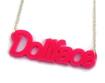 Pink Doll face Acrylic Necklace, Hot pink, girly, script necklace, Rockabilly, Pinup, Retro