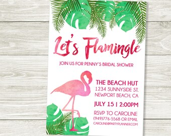 Let's Flamingle Tropical Flamingo Invitation