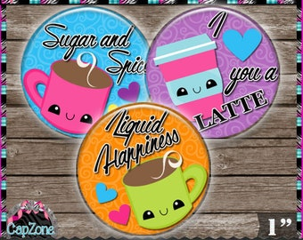"""Liquid Happiness, Latte, Coffee, Hot Chocolate - INSTANT DIGITAL DOWNLOAD - 1"""" Bottlecap Craft Images (4x6) Digital Collage Sheet"""
