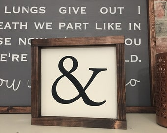 Ampersand and gallery wall painted solid wood sign