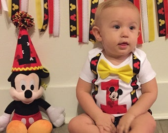 Mickey Mouse Disney Clubhouse Birthday Party Shirt Top Tshirt Outfit Hat Optional Personalization Boys Toddlers 1st 2nd 3rd Bow Tie