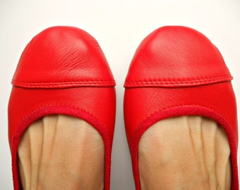 LUNAR- Ballet Flats - Leather Shoes - Cherry Red 39- Available in different colours & sizes see below