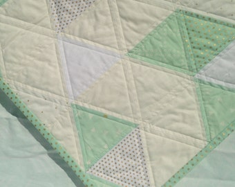 Mint, Gold and White Modern Triangle Quilt, Modern and Trending - Ready to Ship