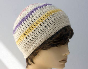 Crochet Beanie, Ready to Ship, Striped  Slouchy Hat, White and Pastel Hat,  Ready to Ship