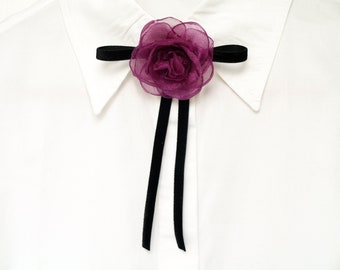 Black bow brooch Bow tie brooch Flower brooch Everyday jewelry Purple pink flower Gift for her Camellia brooch Black pink Dress brooch, Gift