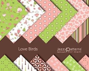Love Birds digital paper pack DP017 instant download