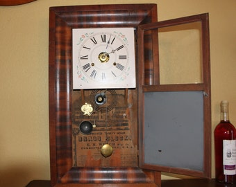 Antique EN Welch Working Wall Clock, with Key, 30 Hour, Rosewood Case, Early 1900s, Key Wind Clock