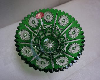 CRYSTAL DISH VINTAGE Green deep Pinwheel etched design made in Germany
