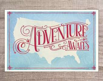 USA Map, Adventure Awaits, Giclee Print  12 x 18, travel, wanderlust, inspiration, illustration, wall art, decor, typography, art print