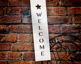 Welcome - Funky  Star - Vertical - Word Art Stencil - Select Size - STCL1487 - by StudioR12