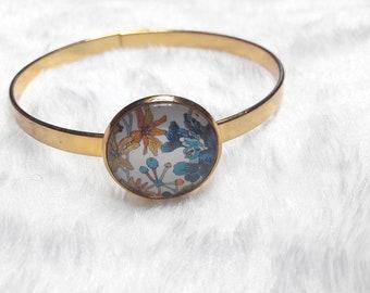 Bangle Bracelet thin Golden mustard and blue flowers