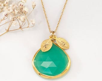 Green Chrysoprase Necklace Gold, Personalized Initial Necklace, Mint Green Gemstone, Statement Necklace, Hand Stamped Initial Necklace