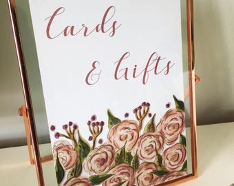 Floral cards and gifts sign - wedding cards sign - wedding sign - gift table sign - peonies