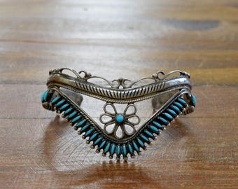 Southwest Sterling Silver and Turquoise Needlepoint Cuff Bracelet