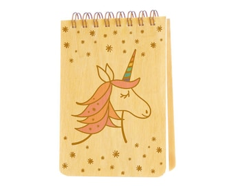 Unicorn Mini Notepad with real birch wood covers - jotter - small notebook - j1935