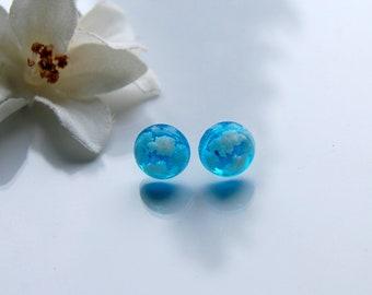 uv resin earrings/little sky and clouds/blue sky