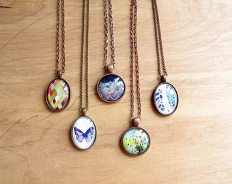 Bridesmaid Gift Set of 5 - necklace gift set - Mix and Match - statement necklace - silver, copper, bronze