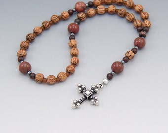 Anglican Rosary - Palmwood with Jasper Gemstone - Christian Prayer Beads - Item # 722