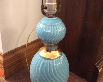 Vintage Blue /Ceramic/ Gold Lamp