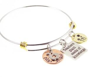 Teacher Appreciation Day Bracelet - Hand Stamped Custom Teacher Bracelet - Teacher's Personalized Teacher's Gifts - Expressions Bracelets